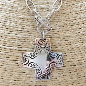 "SILPADA Sterling Silver Cross Necklace 17"""